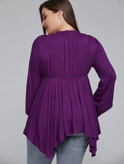 Asymmetrical Plus Size Empire Waist Blouse - PURPLE 2XL Mobile