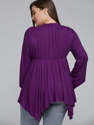 Asymmetrical Plus Size Empire Waist Blouse - PURPLE XL Mobile