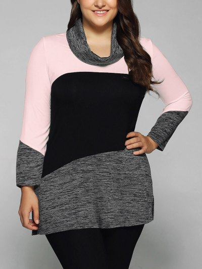 Heathered Cowl Neck Plus Size Blouse - PINK 5XL Mobile