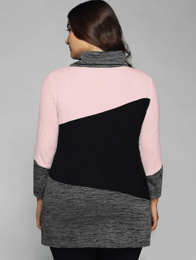 Heathered Cowl Neck Plus Size Blouse - PINK 2XL Mobile