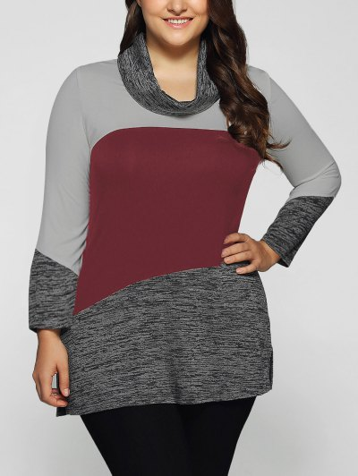 Heathered Cowl Neck Plus Size Blouse - DARK RED 5XL Mobile
