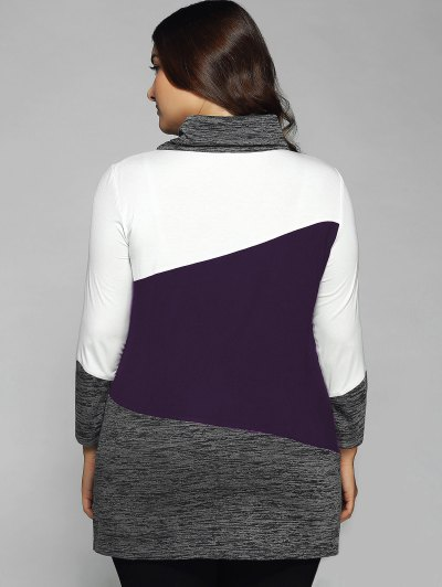 Heathered Cowl Neck Plus Size Blouse - CONCORD 5XL Mobile