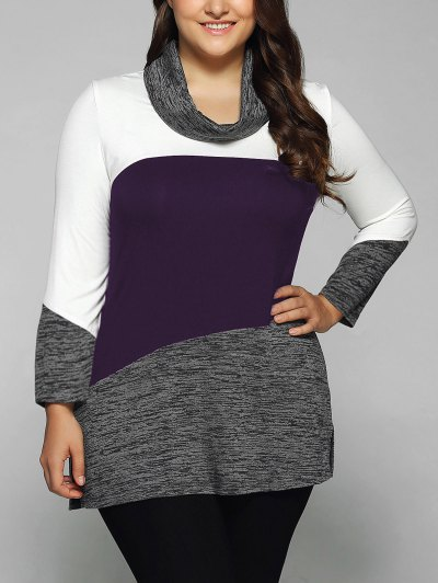 Heathered Cowl Neck Plus Size Blouse - CONCORD 3XL Mobile