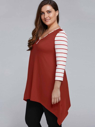 Striped Sleeve Asymmetrical Plus Size Tee - CLARET 3XL Mobile