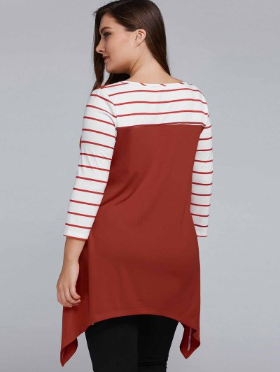 Striped Sleeve Asymmetrical Plus Size Tee - CLARET 5XL Mobile