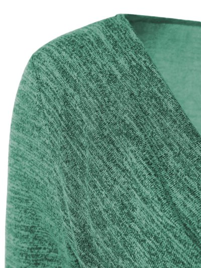 Plus Size Ruched Button Embellished Pullover Top - GREEN 5XL Mobile
