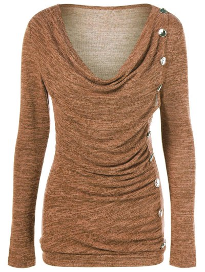 Plus Size Ruched Button Embellished Pullover Top - OCHRE YELLOW XL Mobile