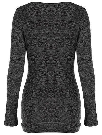 Plus Size Ruched Button Embellished Pullover Top - BLACK GREY 5XL Mobile