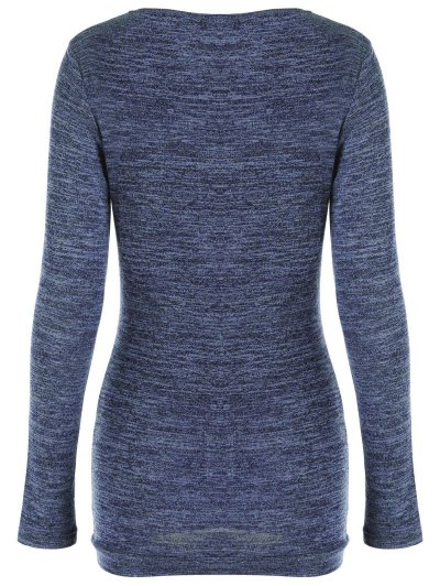 Plus Size Ruched Button Embellished Pullover Top - MEDIUM BLUE XL Mobile