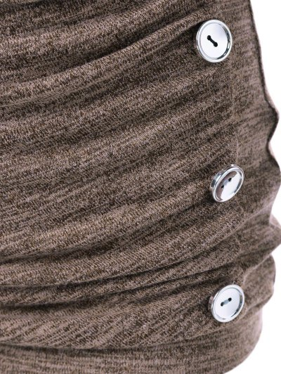 Plus Size Ruched Button Embellished Pullover Top - LIGHT COFFEE 5XL Mobile