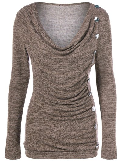 Plus Size Ruched Button Embellished Pullover Top - LIGHT COFFEE 2XL Mobile