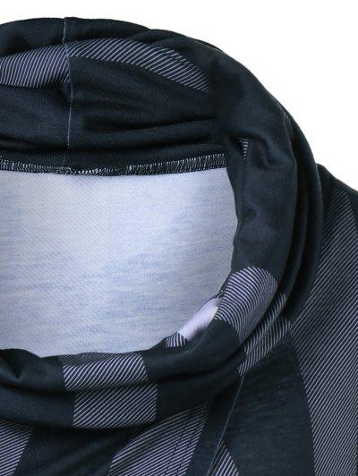 Front Slit Plaid Cowl Neck T-Shirt - CHECKED M Mobile