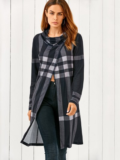 Front Slit Plaid Cowl Neck T-Shirt - CHECKED XL Mobile