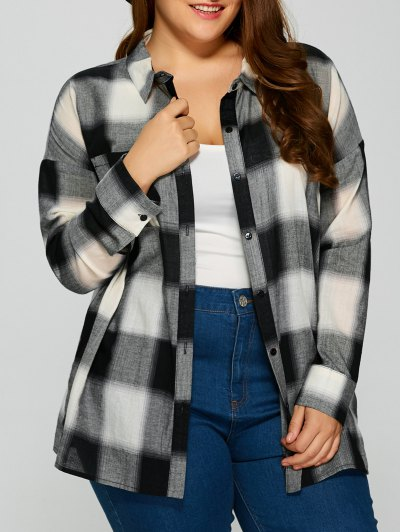 Plaid Drop Shoulder Plus Size Shirt - CHECKED XL Mobile