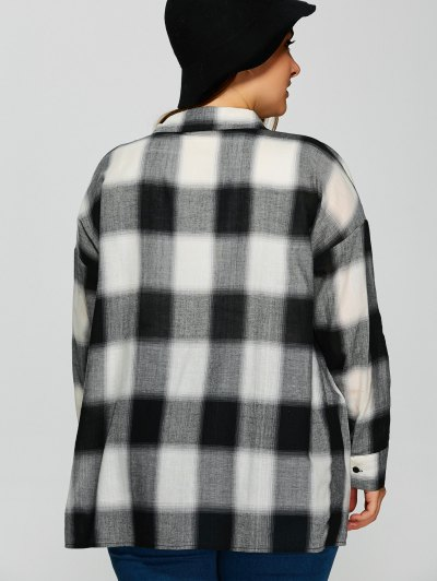 Plaid Drop Shoulder Plus Size Shirt - CHECKED 2XL Mobile