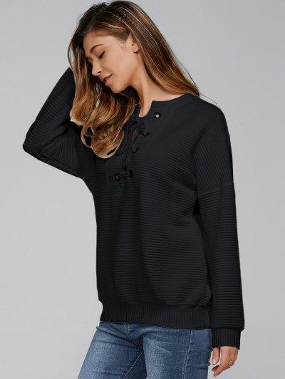 Ribbed Lace Up Sweatshirt - BLACK XL Mobile