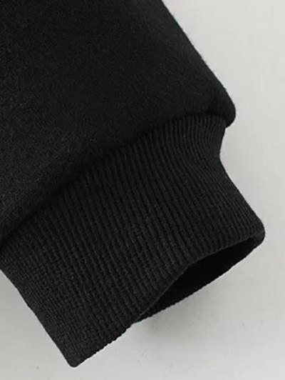 Patched Zip-Up Hoodie - BLACK 3XL Mobile