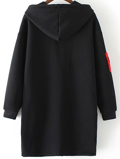 Patched Zip-Up Hoodie - BLACK 2XL Mobile