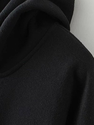 Patched Zip-Up Hoodie - BLACK XL Mobile