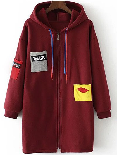 Patched Zip-Up Hoodie - CLARET XL Mobile
