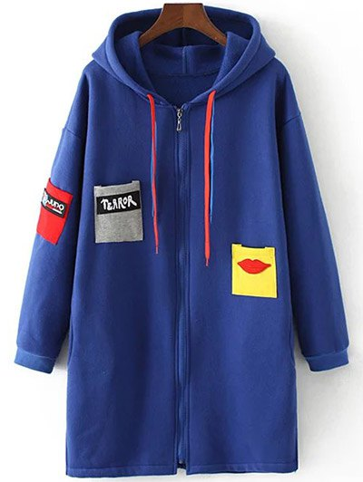 Patched Zip-Up Hoodie - SAPPHIRE BLUE 2XL Mobile