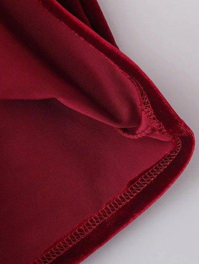 Cold Shoulder Velour Dress - RED M Mobile
