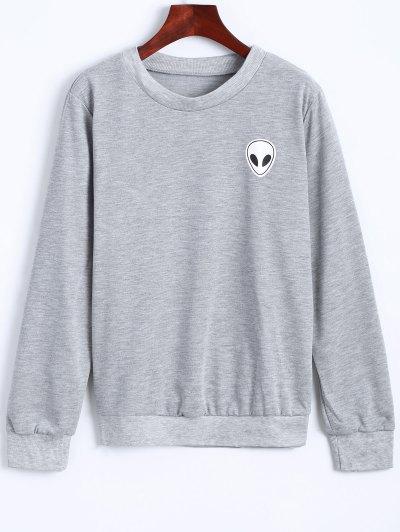 Fitting Skull Sweatshirt - LIGHT GRAY XL Mobile