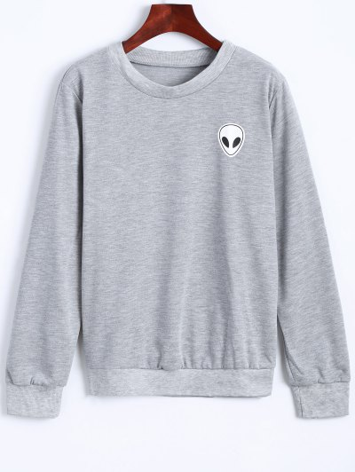 Fitting Skull Sweatshirt - LIGHT GRAY L Mobile