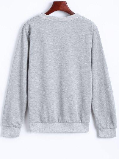 Fitting Skull Sweatshirt - LIGHT GRAY M Mobile