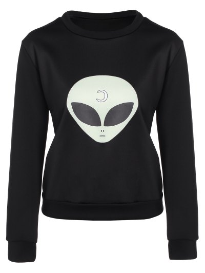 Casual Skull Sweatshirt - BLACK M Mobile