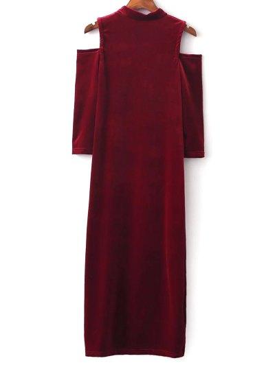 Cold Shoulder Velour Dress - RED L Mobile