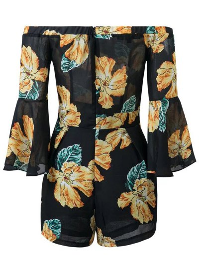Floral Print Off  Shoulder Romper - BLACK L Mobile