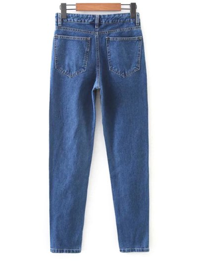 Floral Embroidered Tapered Jeans - DENIM BLUE M Mobile