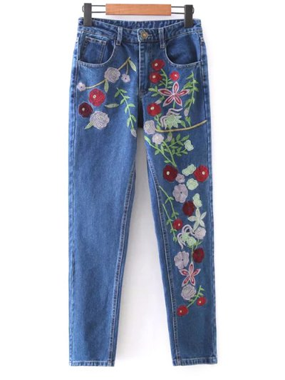 Floral Embroidered Tapered Jeans - DENIM BLUE S Mobile