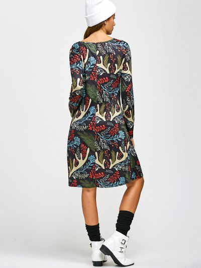 Christmas Leaf Antler Printed A Line Dress - COLORMIX ONE SIZE Mobile