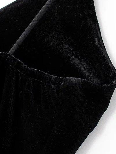Embroidered Velvet Cami Dress - BLACK M Mobile