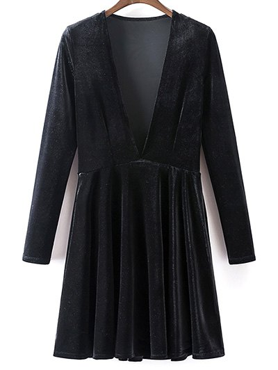 Velvet A-Line Dress - BLACK L Mobile