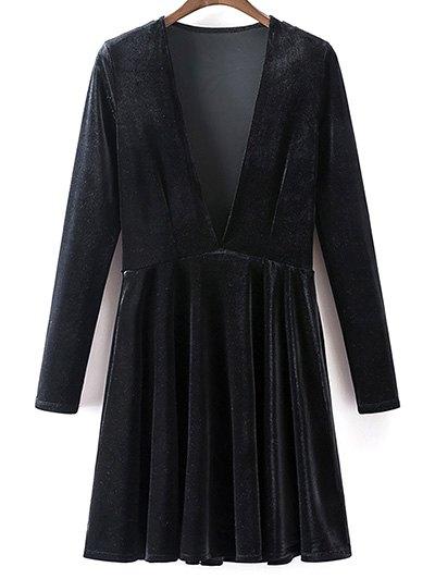 Velvet A-Line Dress - BLACK M Mobile