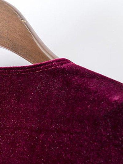 Velvet A-Line Dress - WINE RED M Mobile