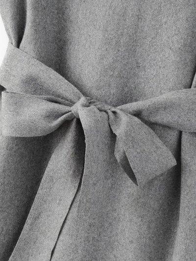 Sleeveless Peplum Hem Wool Blend Dress - GRAY S Mobile