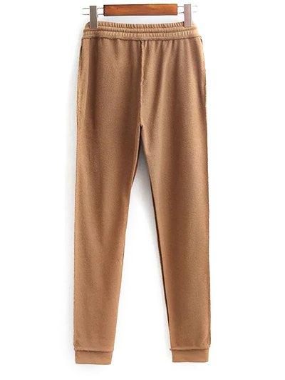 Cropped Hoodie and Drawstring Sports Pants - DARK KHAKI M Mobile