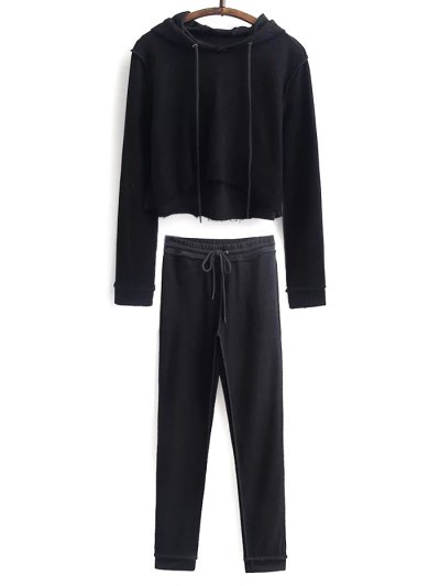 Cropped Hoodie and Drawstring Sports Pants - BLACK L Mobile