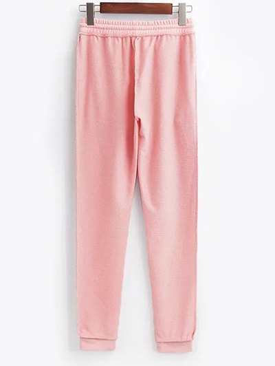 Cropped Hoodie and Drawstring Sports Pants - PINK L Mobile