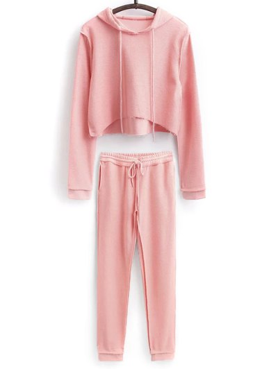 Cropped Hoodie and Drawstring Sports Pants - PINK M Mobile