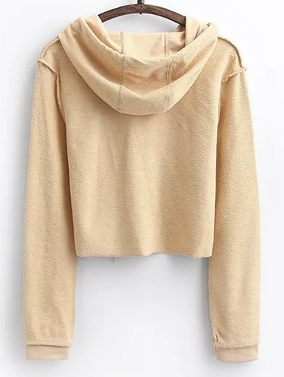 Cropped Hoodie and Drawstring Sports Pants - LIGHT KHAKI L Mobile