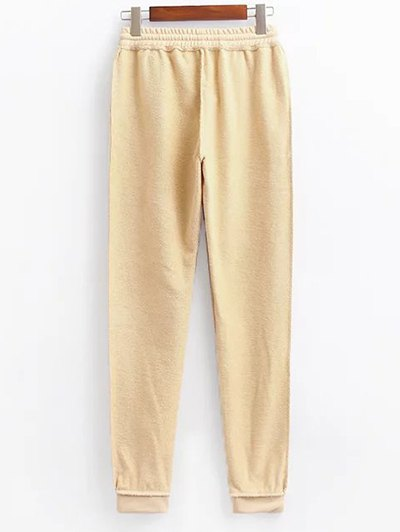 Cropped Hoodie and Drawstring Sports Pants - LIGHT KHAKI M Mobile