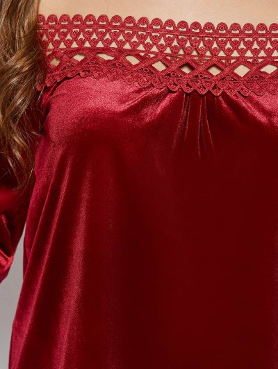Lace Trim Off The Shoulder Velvet Top - BURGUNDY M Mobile