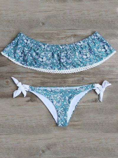 Off Shoulder Padded Tiny Floral Bikini - Blue Green