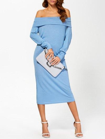 Foldover Off The Shoulder Midi Dress - Blue L