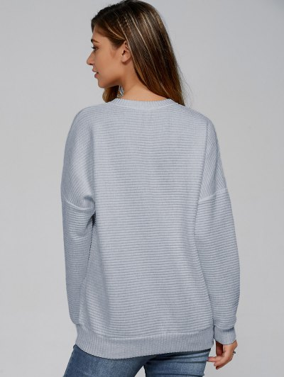 Ribbed Lace Up Sweatshirt - SMOKY GRAY XL Mobile